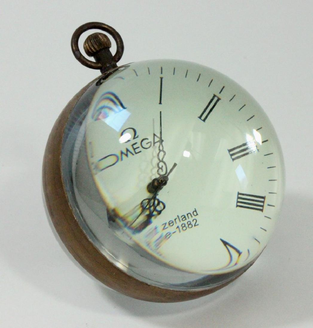 Glass & Brass Ball Desk Clock - 2