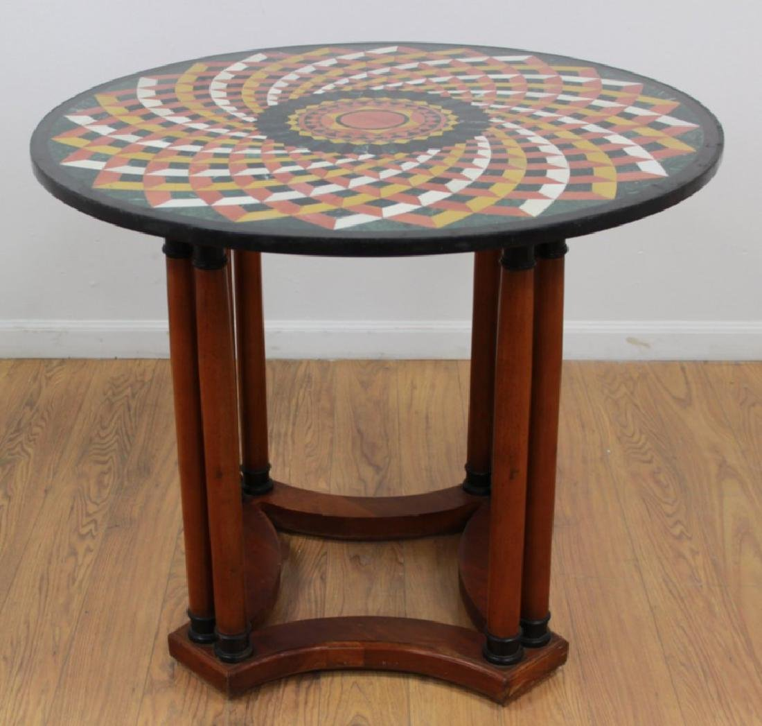 Round Inlaid Center Table