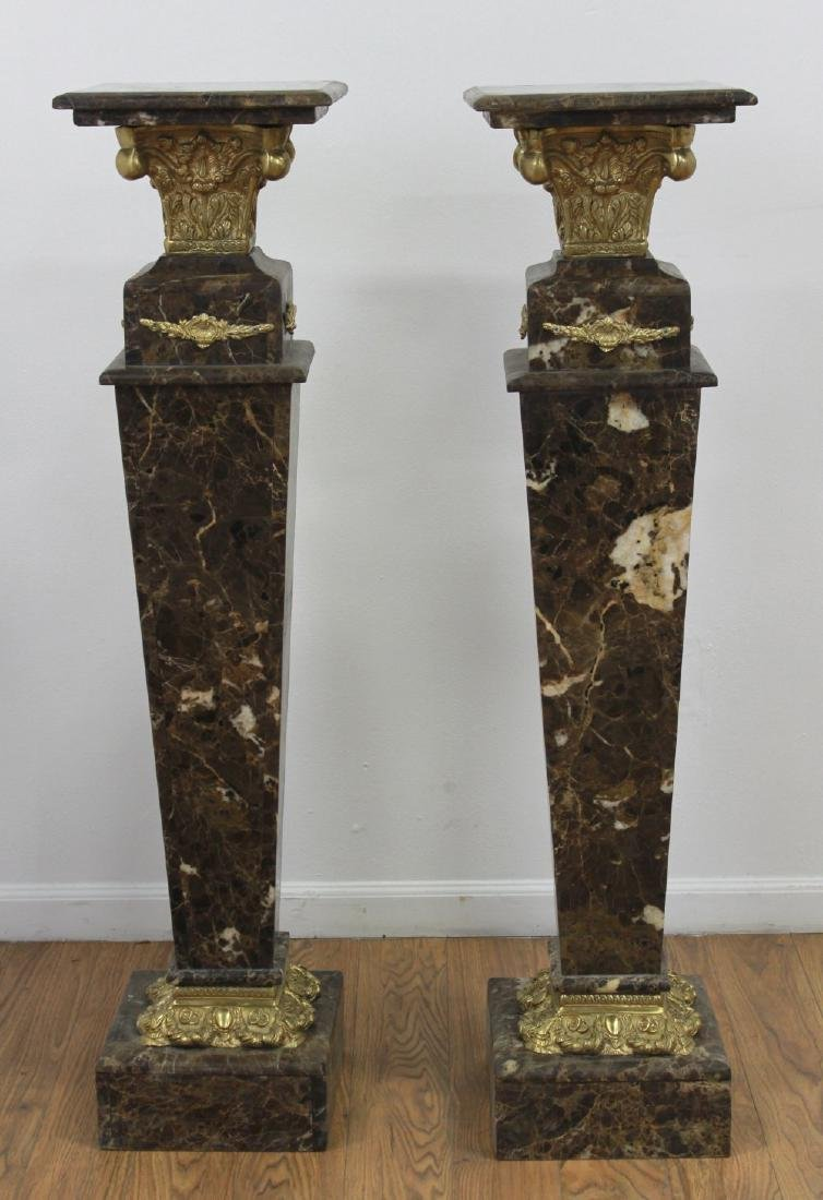 Pair Verde Marble Pedestals