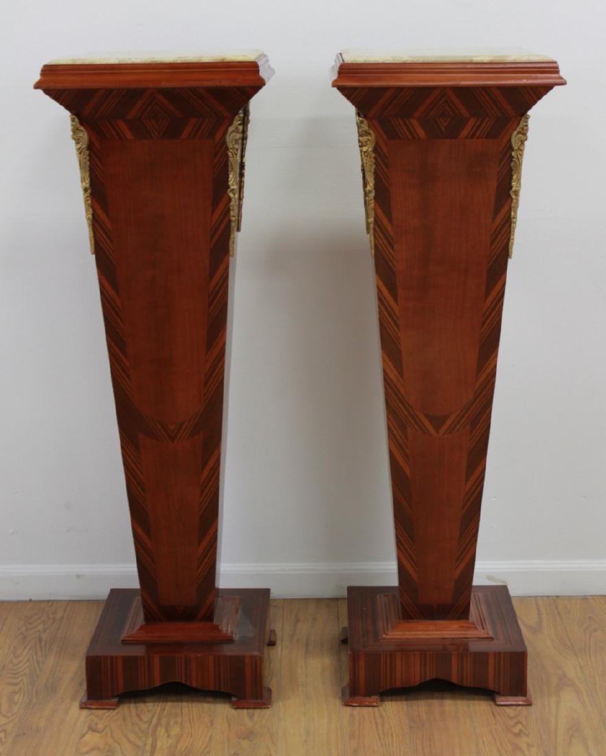 Pair Wood & Marble Top Pedestals