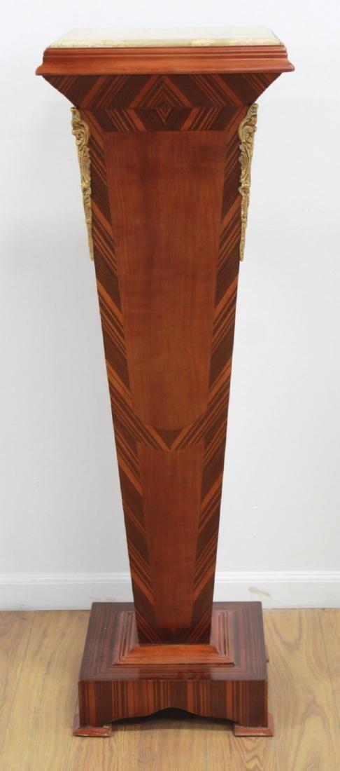 Pair Wood & Marble Top Pedestals - 2