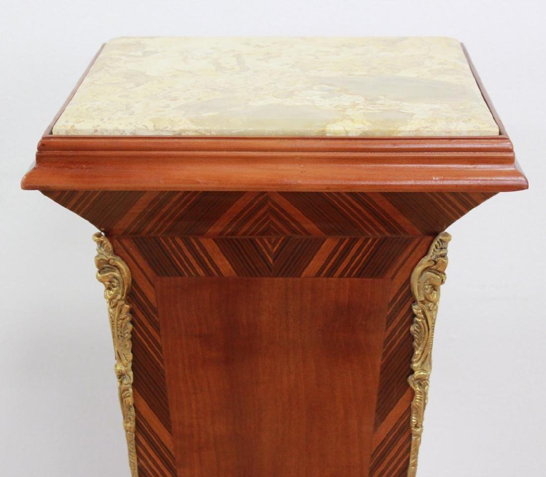 Pair Wood & Marble Top Pedestals - 3