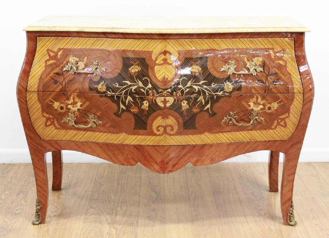 Marble Top 2-Drawer Inlaid Marquetry Commodes