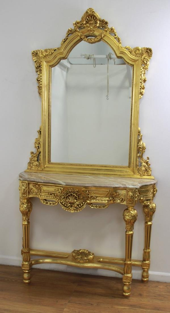Marble Top Console with Mirror