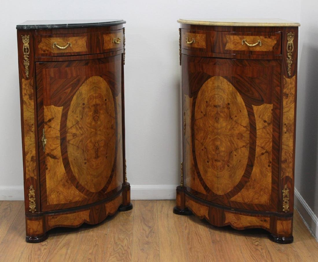 Pair Marble Top Corner Cabinets