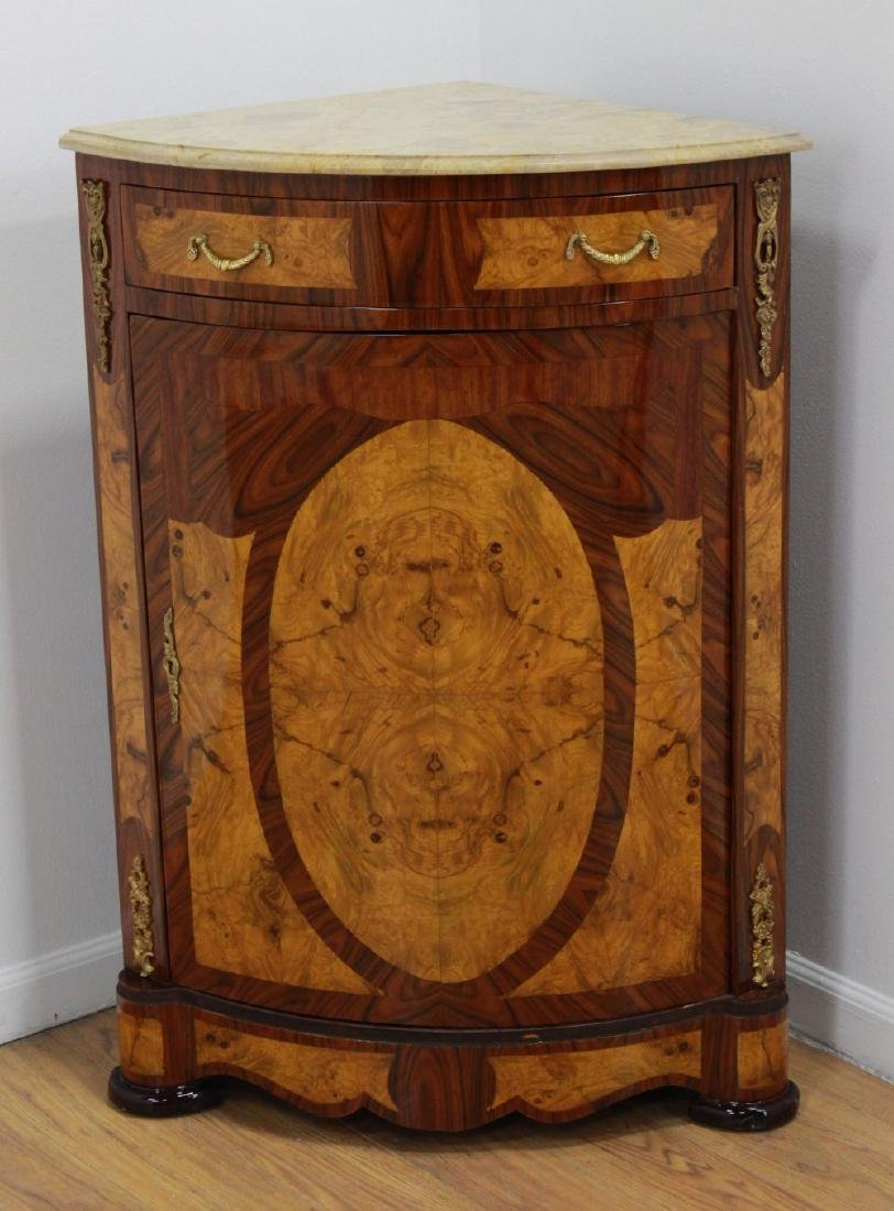 Pair Marble Top Corner Cabinets - 2