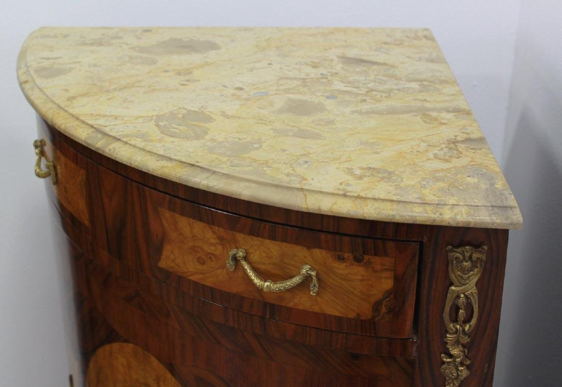 Pair Marble Top Corner Cabinets - 3