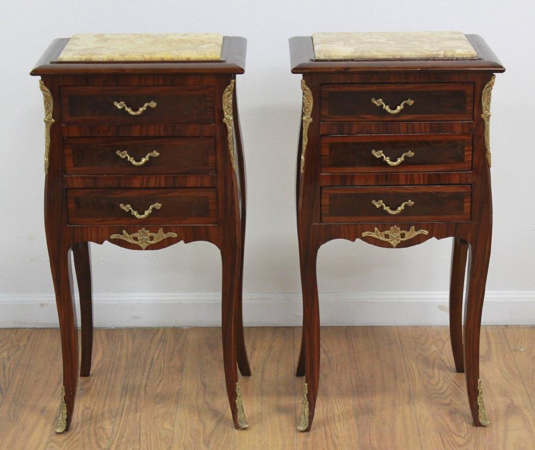 Pair 3-Drawer End Tables with Bronze Ormolu