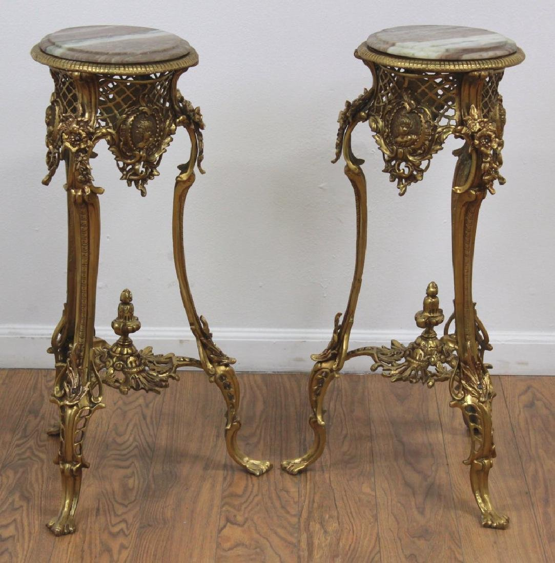 Pair Rococo Style Bronze & Marble End Tables