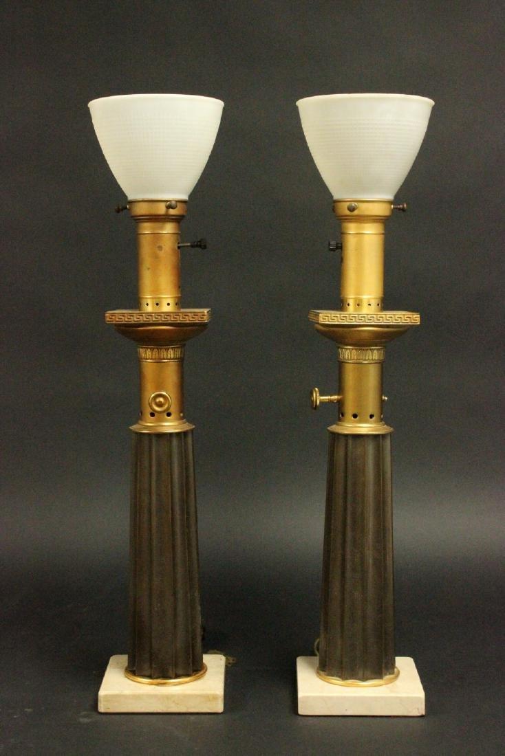 Pr Brass & Marble Mid-Century Modern Column Lamps