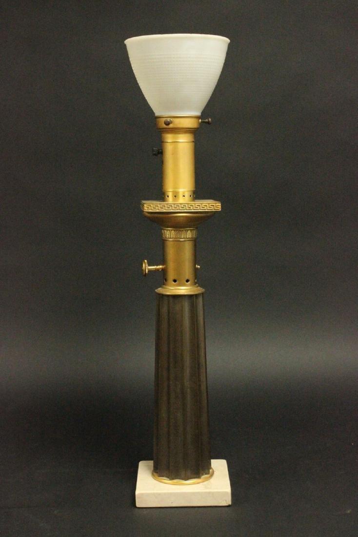 Pr Brass & Marble Mid-Century Modern Column Lamps - 2
