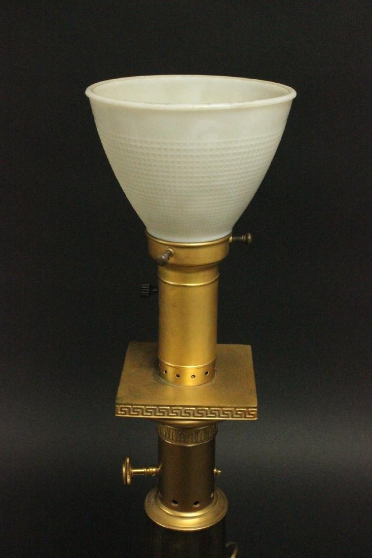 Pr Brass & Marble Mid-Century Modern Column Lamps - 3