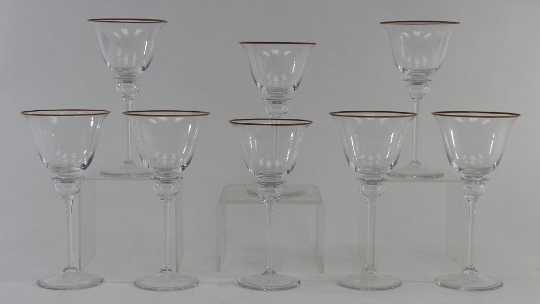 Set of 8 Gucci Glass Gilded Rim Goblets