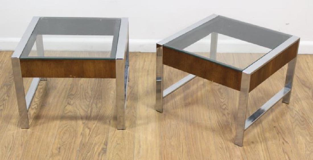 :Pair 70s Chrome & Walnut Side Tables