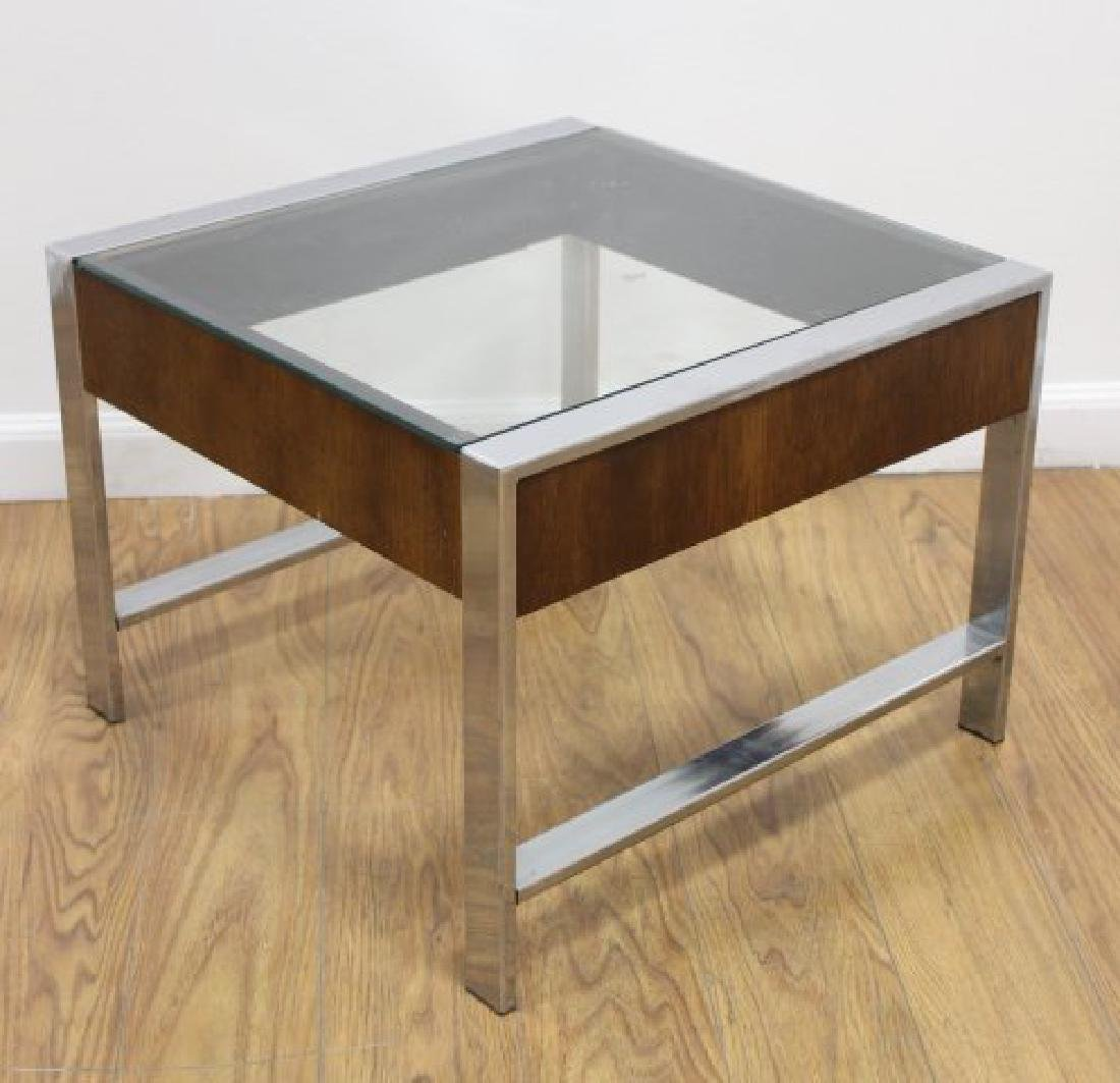 :Pair 70s Chrome & Walnut Side Tables - 2