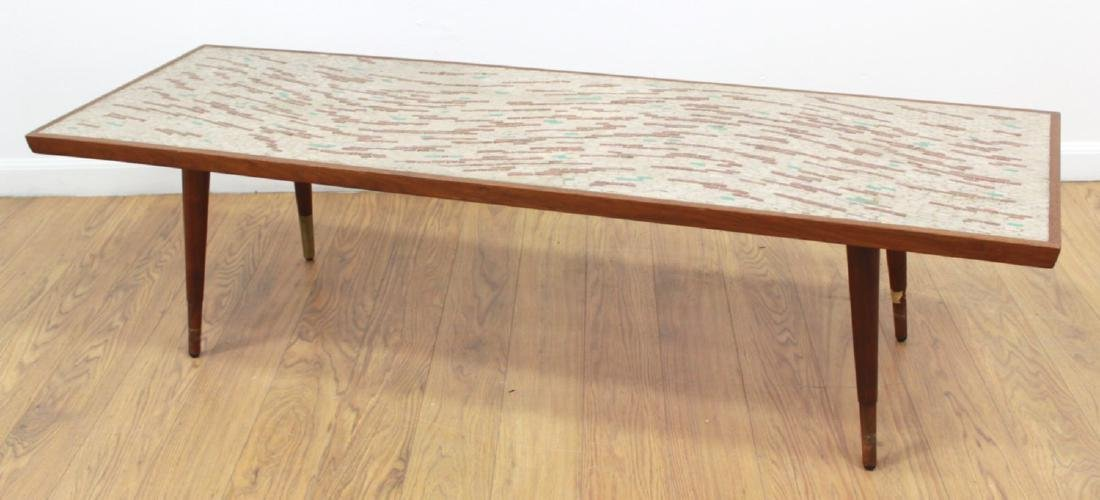 Danish Modern Coffee Table with Stone Inlays