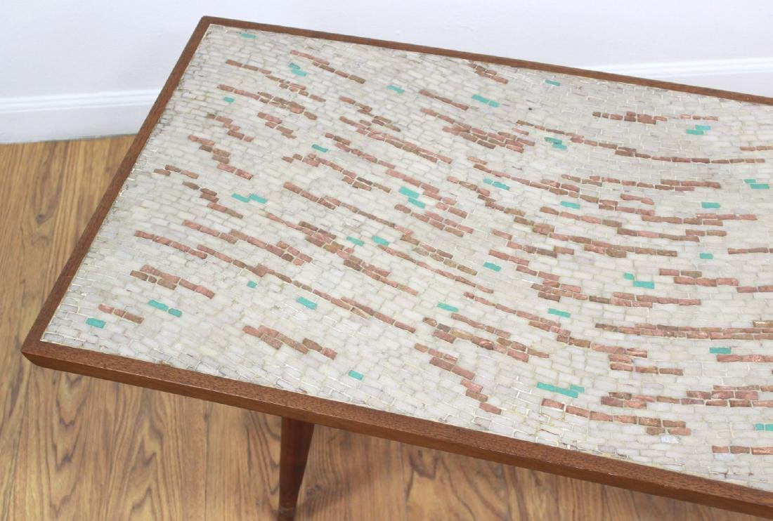 Danish Modern Coffee Table with Stone Inlays - 4