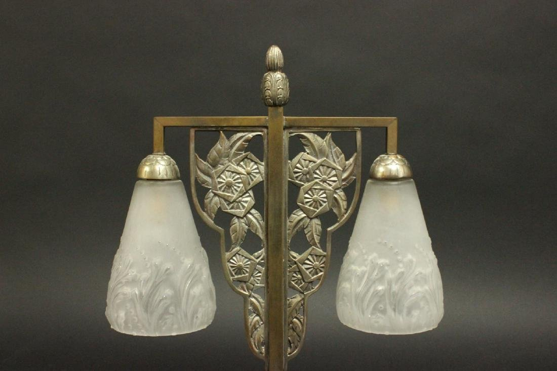 French Art Deco Silvered Metal 2-Light Lamp - 2