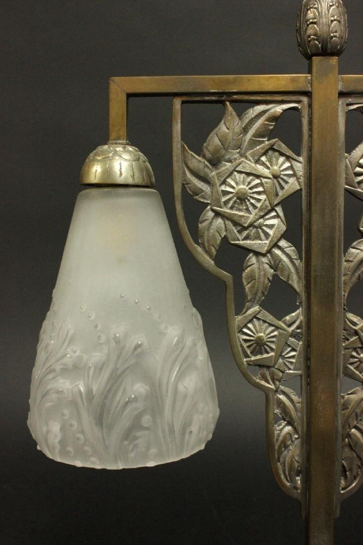 French Art Deco Silvered Metal 2-Light Lamp - 3