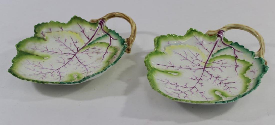 Pair Royal Worcester Cabbage Leaf Form Dishes