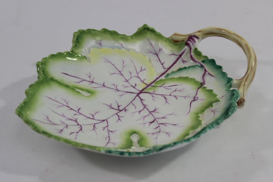 Pair Royal Worcester Cabbage Leaf Form Dishes - 2