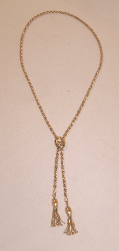 791: 18KT ROPE NECKLACE WITH TASSEL ENDS