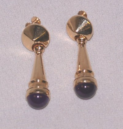 794A: 14KT GOLD & AMETHYST DROP EARRINGS