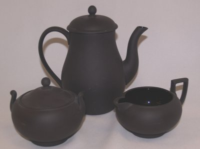 810: 3 PC. BLACK WEDGWOOD TEASET