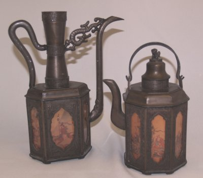 811: 2 EARLY 20TH C. CHINESE PEWTER TEAPOTS