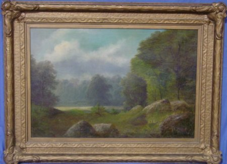 1088:  LATE 19TH C. OIL PAINTING ON BOARD LANDSCAPE