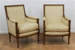 Pair Louis XVI Style Beechwood Stained Bergeres