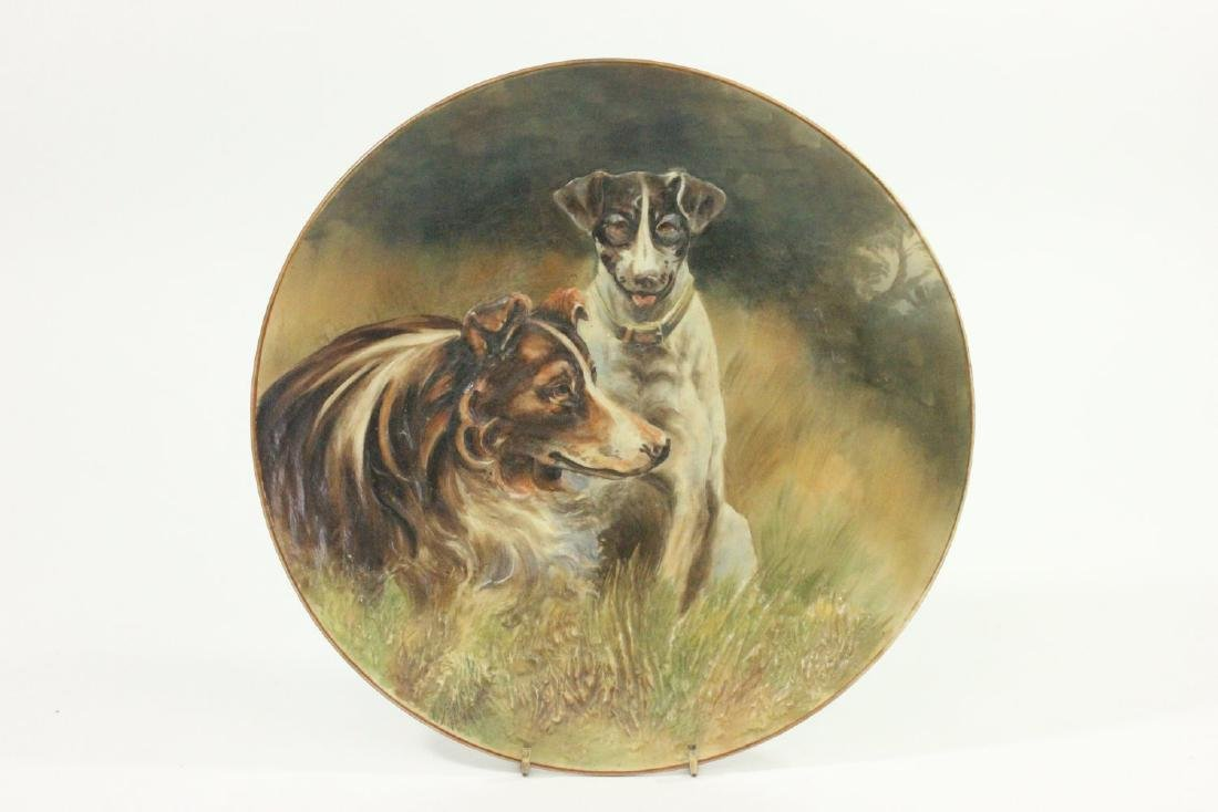 Handpainted Nippon Blown Out Plate with 2 Dogs