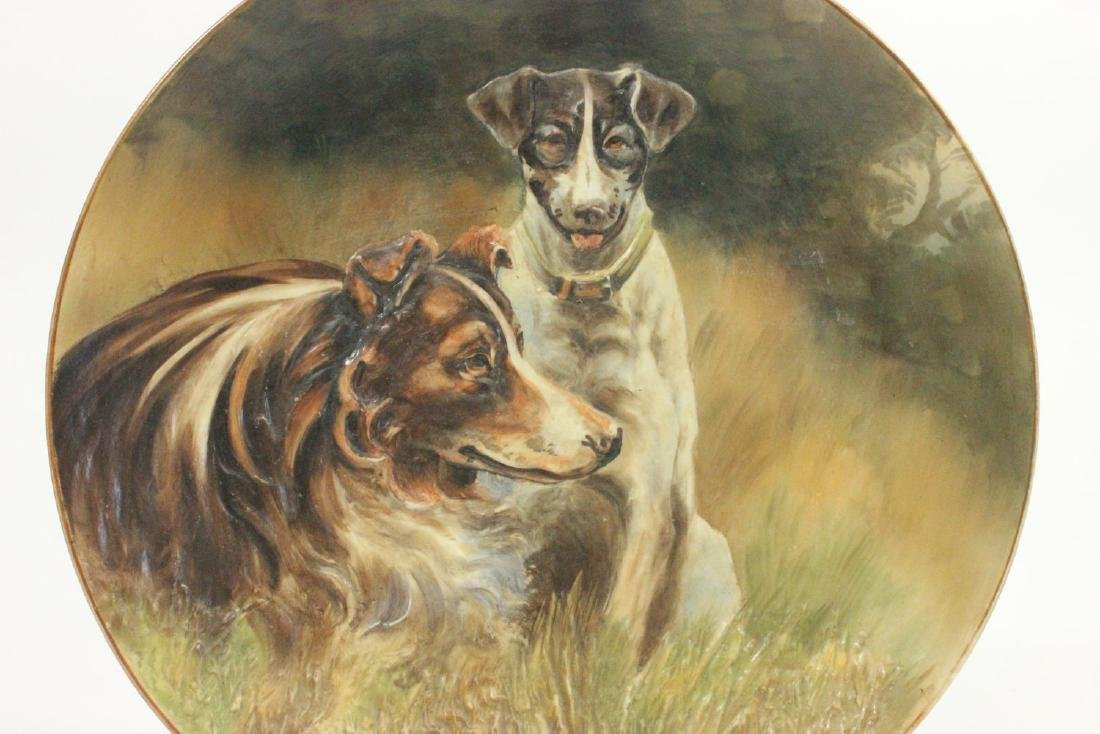 Handpainted Nippon Blown Out Plate with 2 Dogs - 2