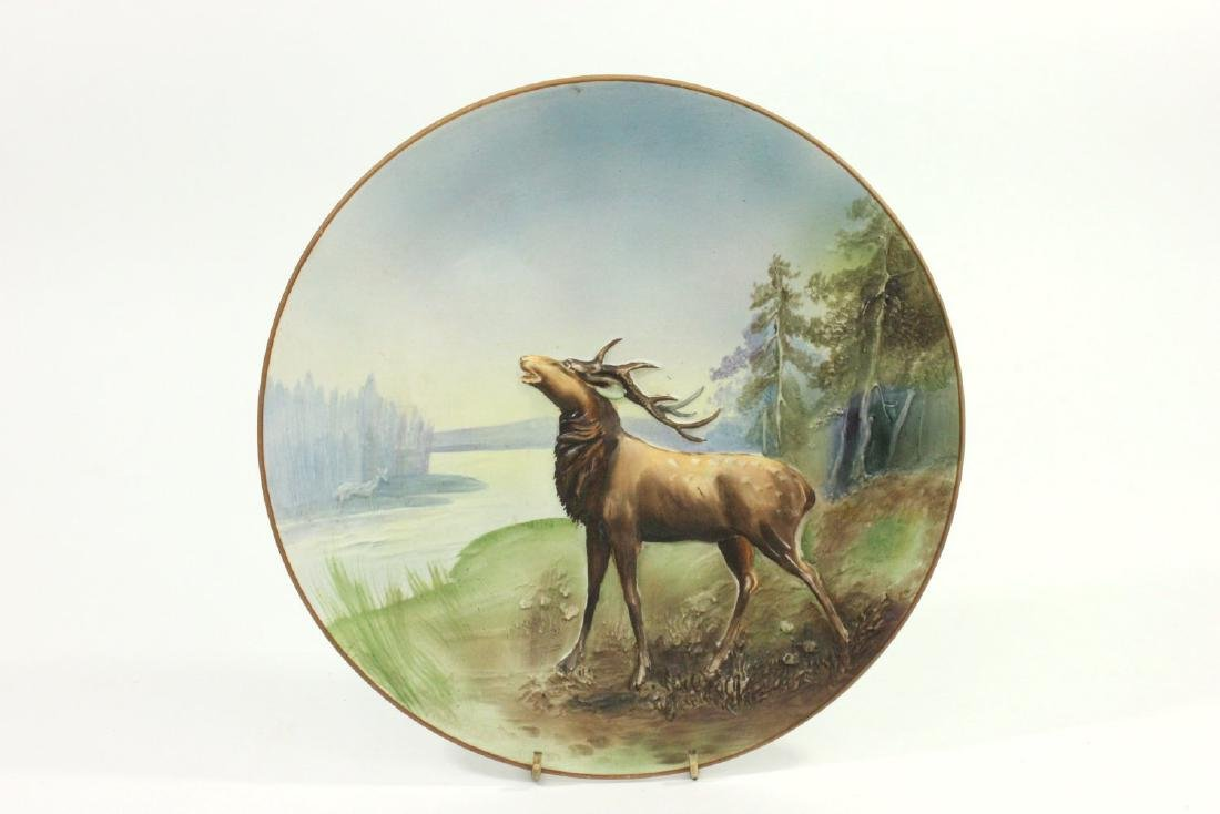 Nippon Blown Out Plate with Elk by River