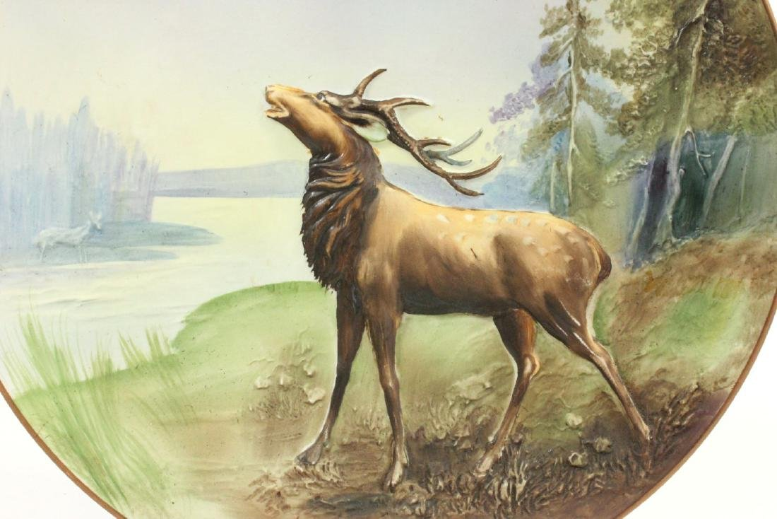 Nippon Blown Out Plate with Elk by River - 2