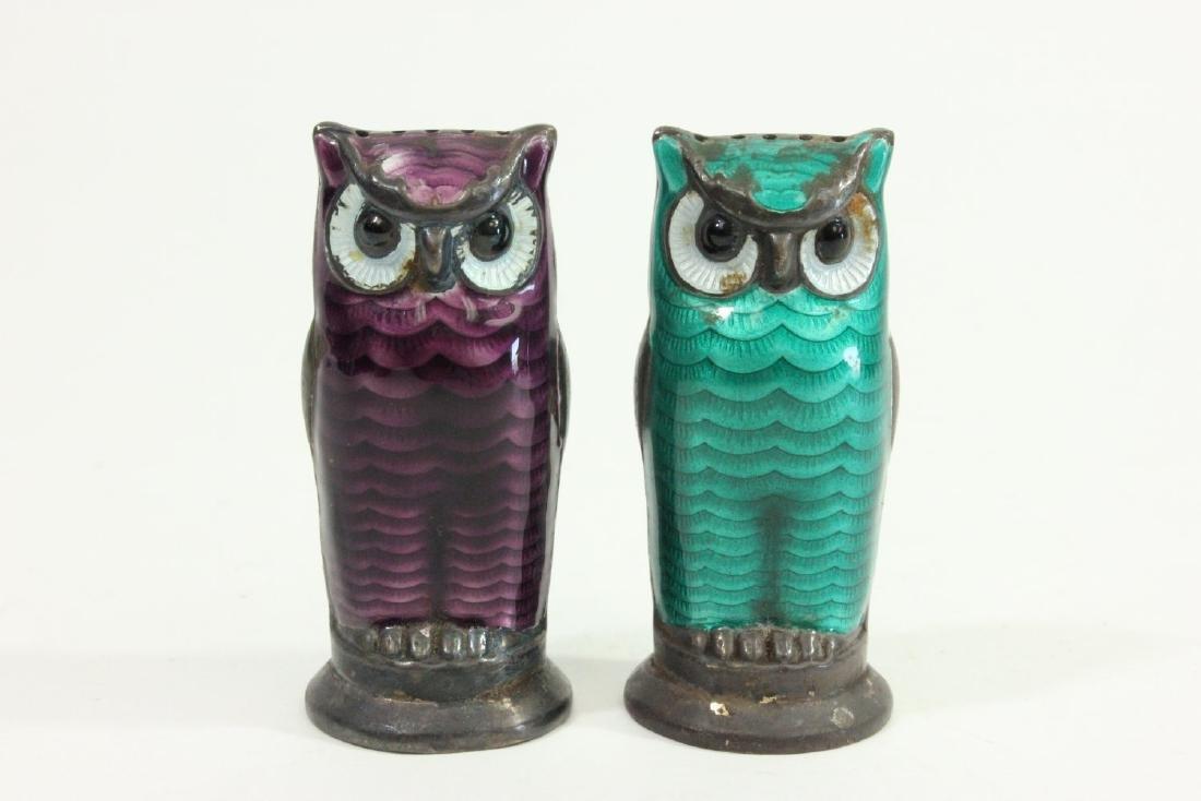 Sterling Silver & Enamel Owl Salt & Pepper