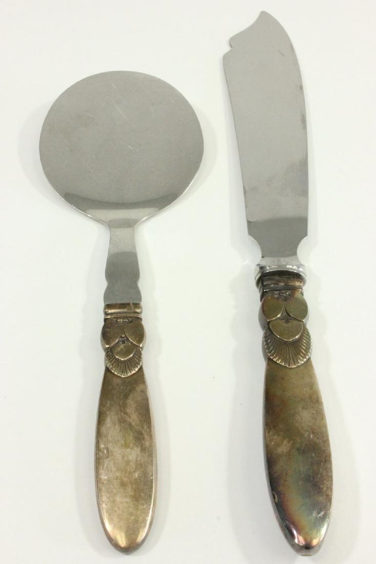 2 Georg Jensen Sterling Silver Handle Serving Pcs
