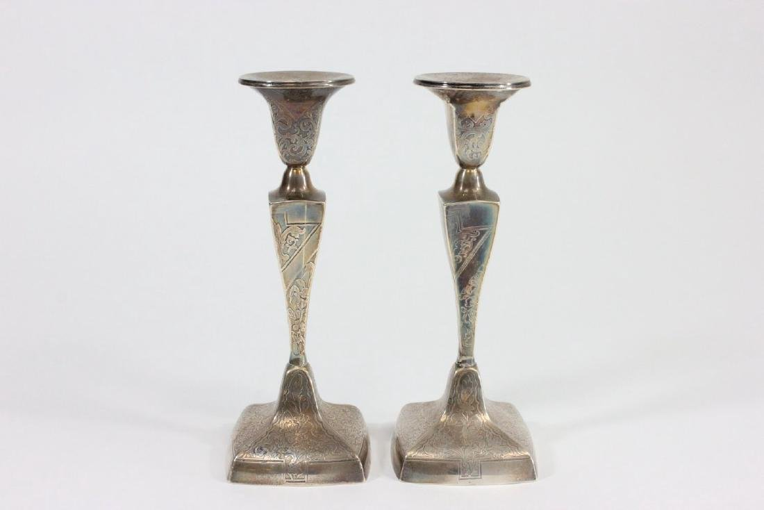 2 Pairs Sterling Silver Weighted Candlesticks - 5