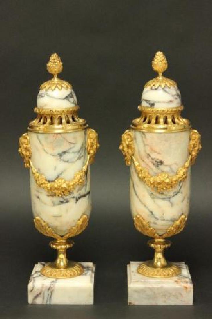 :Pair Bronze & Marble Urns