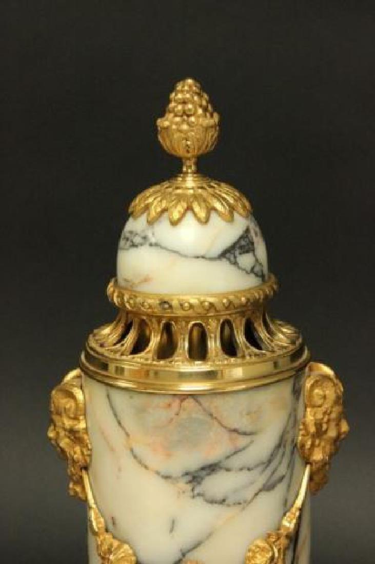 :Pair Bronze & Marble Urns - 3