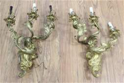 Pair French 19th C Brass Wall Sconces