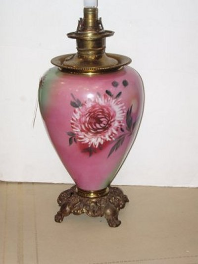 27: 19TH C. FLORAL OIL LAMP BASE