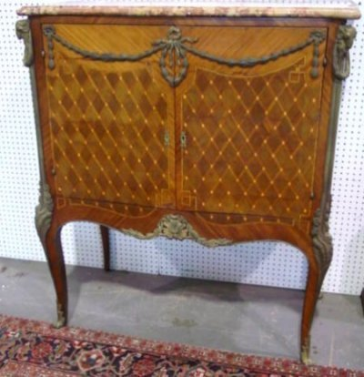 256: 19TH C. BRONZE MOUNTED MARBLE TOP CABINET