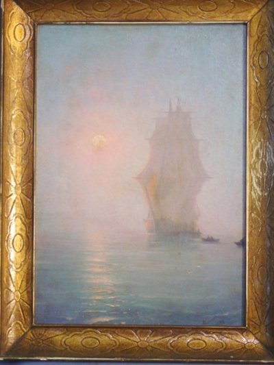 917: RUSSIAN OIL PAINTING PANEL WITH SIGNATURE AIVSOV