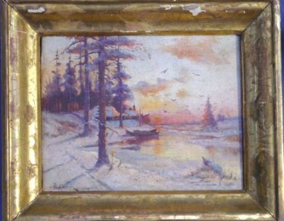 918: RUSSIAN OIL PAINTING ON CANVAS ATTRIBUTED KLEVER