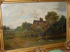 1038: OIL PAINTING ON CANVAS FARM SCENE SIGNED