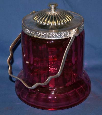 25: CRANBERRY COLORED GLASS BISCUIT JAR