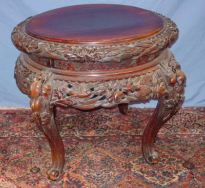 252: 19TH C. ORIENTAL MAHOGANY CARVED TABLE