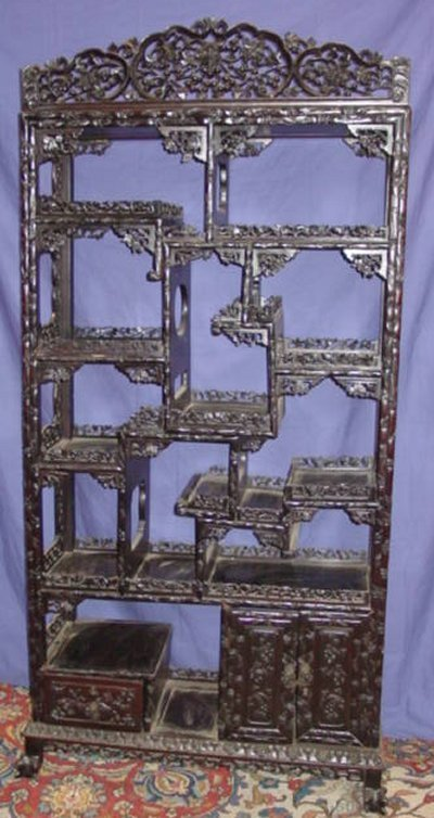 253: CHINESE  CHERRY BLOSSOM CARVED TEAK WOOD ETAGERE
