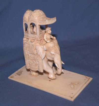 "616: SCULPTURE. 19TH C. INDIAN IVORY "" ON A MAMMOTH"